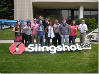 Our team with the new Slingshot SEO sign!